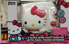 HELLO KITTY- White & Pink 2-Slice Wide Slot Toaster w/ Cool Touch Exterior