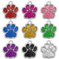 Médaille gravée PATTE avec strass - 2,7x2,5cm pour chien et chat
