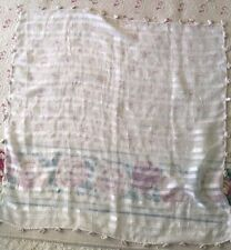 Table Cover Ecru With That And Stripes And Crocheting Trim 34 X 35""