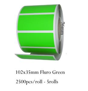 102x35mm Fluro Green Label Roll Thermal Transfer 2500/roll 5rolls Core 76mm
