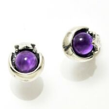 Moon and Star Stud Earrings .925 Sterling Silver w/ Genuine Amethyst gems