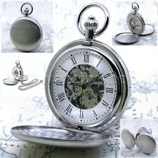 Mechanical Pocket Watch Silver Skeleton Double Hunter Men 50mm Chain and Box P39