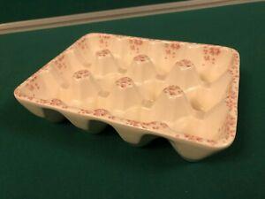 ceramic egg tray holder 12 eggs pink floral pattern
