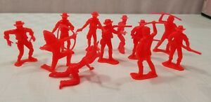 Vtg Hard Plastic Army Men LOT OF 11 RED COWBOYS & INDIANS Tim Mee or Marx D0