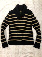 Women's LAUREN Ralph Lauren Shawl Neck Black Label Gold Sweater Petite Medium PM