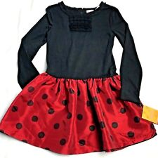 Sonoma Dress Girls Size 6 Red Black Polka Dot Long Sleeve
