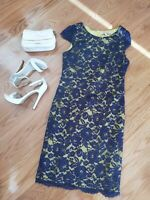 REVIEW Corporate Cocktail Dress Size 12 M L Floral Lace Overlay Lime Aubergine