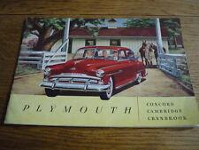 Plymouth Concord, Cambridge, la prestige folleto de coche, 1951 EE. UU.