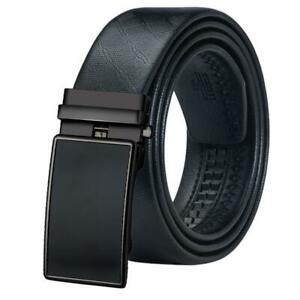 Mens Automatic Solid Buckles Belts Black Real Leather Ratchet Waistband Straps