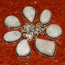 Bulk Lot !! 50Pcs. Natural RAINBOW MOONSTONE 925 Sterling Silver Plated Pendant