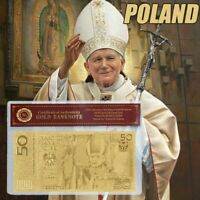 Banknote Model 50 Zloty Poland Gold Pope John Paul Collection 999 Polymer Europe