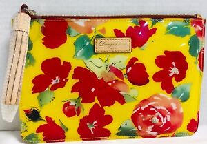 *Dooney & Bourke*Yellow Cabbage Rose*Carrington Pouch 18340J S176