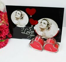 I LOVE YOU GLASS PHOTO FRAME WITH 2 HEART SHAPE CANDLE FOR VALENTIN'S DAY GIFT