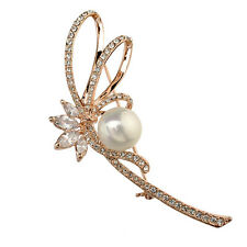 ITALINA 18K ROSE GOLD PLATED GENUINE CLEAR CUBIC ZIRCONIA & WHITE PEARL BROOCH