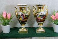 PAIR antique 19thc Vieux paris porcelain hand paint Swan handles Vases romantic
