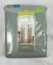 "JCP Home Fog Blue Pembroke Lined Grommet Curtain Panel, 50""X95"""