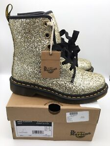 NEW Dr. Martens 1460 FARRAH Gold Chunky Glitter Women's Leather Boots Size 8 US