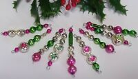 Vintage Mercury Glass Bead Icicle 9 Christmas Ornaments INDENT Pink Green Silver