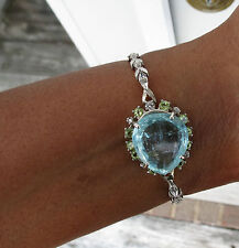 Santa Maria 15.3ct aquamarine diamond peridot 14k white gold bracelet bangle 6.5
