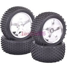 SET RC 1/10 Off-Road Car Buggy Front&Rear Tyre Tire Metal silver Wheel Rim M05S9