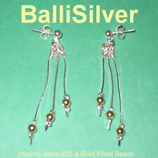 3 pairs Silver & Gold Filled Beads 3 Strand EARRINGS