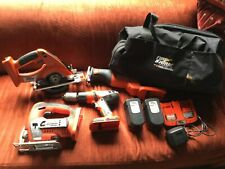 Black & Decker Firestorm Cordless 24V Tools, Saws, Drill, Charger Batteries, Bag