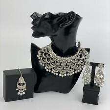 Silver Bridal Choker Necklace Earrings & Maang Tikka Indian Pakistani Jewellery