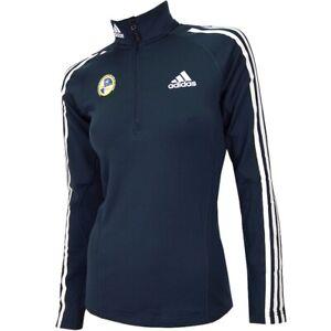 Adidas Athletic Damen Fleece Rolli Sport Pullover Ski Langlauf Sweat Shirt blau