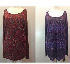 Chaps By Ralph Lauren Women's Berry Red PURPLE Blouse LONG SLEEVE Size 3X 2X