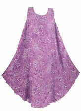 Purple Women Batik Caftan Tunic Tank Sleeveless Dress Cover Up Plus Sz XL 16
