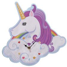 30cm Modern Funky Style MDF Wooden Unicorn Shaped Wall Clock Kids Bedroom Gift