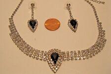 Necklace Set Beautiful Black Teardrop  Rhinestone Statement Earrings NWT L265