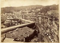 Genova due foto grandi originali all'albumina fronte-retro Noack 1870c XL434