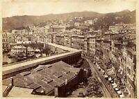 Genova due foto grandi originali all'albumina fronte-retro Noack 1870c XL434