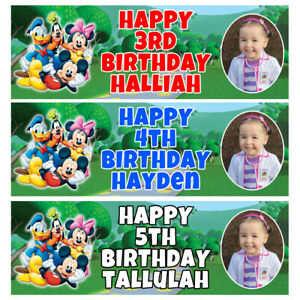 MICKEY MOUSE CLUBHOUSE Photo Personalised Birthday Banner -Birthday Party Banner
