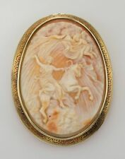 """Brooch """"Heavens Opening"""" 14K Antique Large Cameo"""