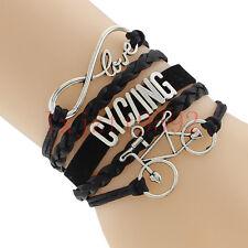 Infinity Love Cycling Bracelet With Bike Charm Leather Bracelet-Bicycle Sports#2