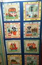 Katzen 8 Bilder 60 X 112 cm Makower Nähen 100% Baumwolle Vögel Garten Knöpfe
