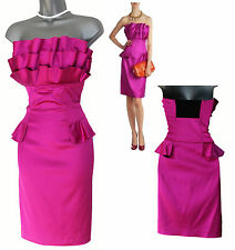 TED BAKER Pink/Fuschsia Satin Emis Strapless Ruffle Bodice Dress 2 UK10 rrp £159