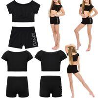 Toddler Girls Dance Ballet Top Bra+Shorts Set Gymnastics Leotard Dancing Costume