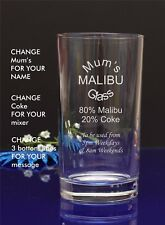Engraved Personalised Hiball MUM'S MALIBU GLASS Gift For Christmas/Nan/by jevg10