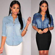 55a146dd38 Retro Women Casual Blue Jean Soft Denim Long Sleeve Shirt Tops Blouse  Jacket New