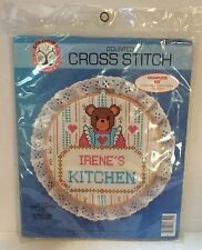 Vintage 1985 Colortex Counted Cross Stitch Kit Bear *YOUR* Kitchen 5764 New