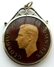 More details for george 6th 1948 enamelled half crown in sterling silver pendant mount -medallion