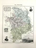 1893 Antique Map of Cher Bourges France French Regional Hand Coloured