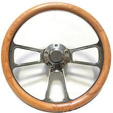 Hot Rod Street Rod Rat Rod Truck Real Oak & Billet Steering Wheel & Horn