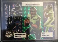 2020 Panini Mosaic Green Prizm SP Flea Flicker Seattle Seahawks Russell Wilson +
