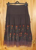 VILA chocolate brown orange green floral gypsy boho midi summer skirt L 14 42