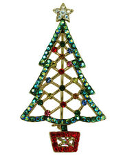 RUCINNI X'mas Tree Brooch, 20K plated and Swarovski Crystals