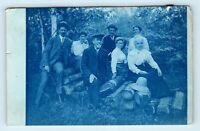 Perris, CA - VICTORIAN FAMILY PORTRAIT ON WOODPILE - CYANOTYPE RPPC VTG PHOTO